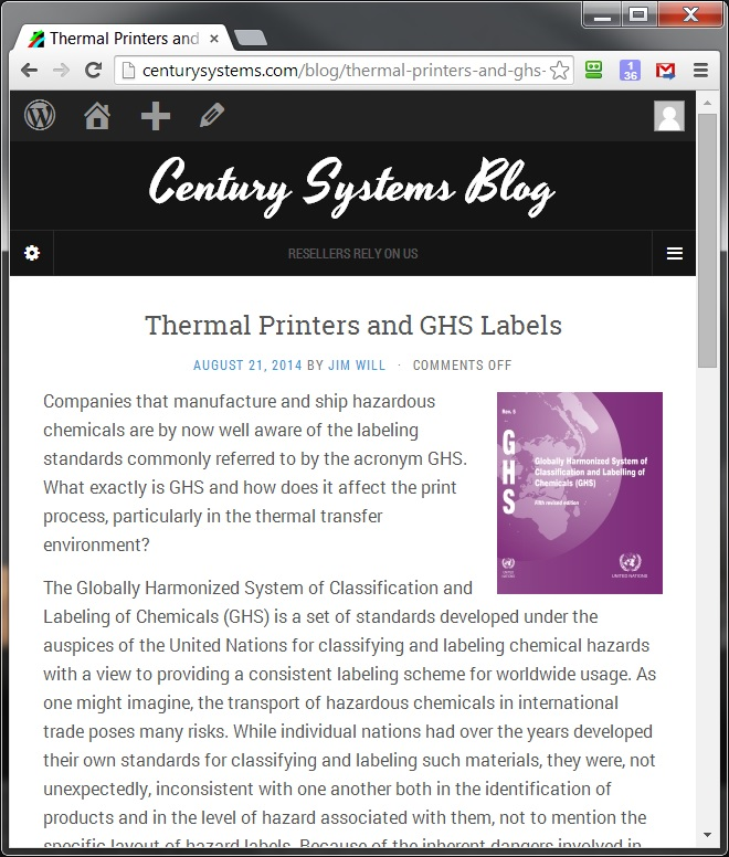 Century Systems Blog Screen Shot
